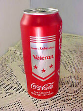 Collectible Coca Cola Full Can Military Veteran 16 oz Never Opened 2017