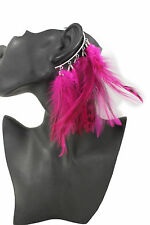Women Long Feathers Purple Drop Fashion One Side Earring Hook Peacock Hop Pink
