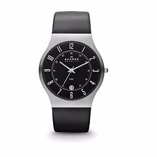 Skagen 233XXLSLB Men's Denmark Black Leather Strap Black Dial Quartz Date Watch
