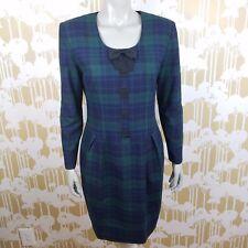 Donna Ricco Sz 8 Tartan Plaid Shift Wiggle Cocktail Dress Christmas Career USA