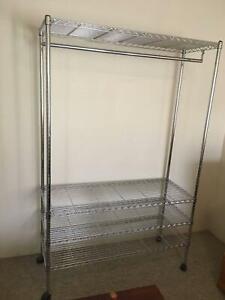 Large chrome shelf storage W120xD46xH180m from Howars store, very good. Adjustab