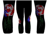 Reg Capri Legging Embellished Rhinestone Patriotic July 4th Memorial Day Roses