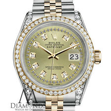 Rolex Stainless Steel - Gold 36 mm Datejust Watch Champagne String Diamond Dial