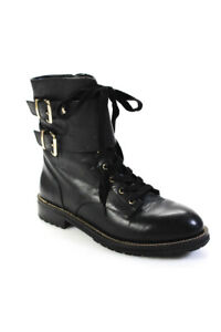 Kurt Geiger London Womens Leather Gold Tone Buckles Ankle Boots Black Size 39 9