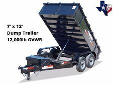 Brand New Texas Pride 7' x 12' Bumper Pull Dump Trailer, 12k gvwr