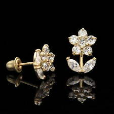 0.30CT Marquise Created Diamond Flower Earrings 14K Yellow Gold Studs Screwback