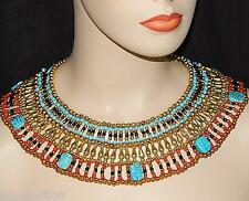 HANDMADE PHARAOH'S CLEOPATRA NECKLACE WITH 7 SCARABS -UNISEX