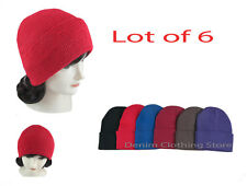 Lot of 6 Beanie Unisex  Winter Cuffed Knit   Beanies Hats Cap Caps Wholesale