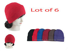 Lot of 6 Beanie Unisex  Winter Cuffed Knit   Beanies Hats Cap Caps Wholesale