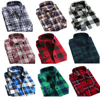 Mens Slim Long Sleeve Shirt Plaids Check & GIFT Tops Shirts Dress Casual Cotton