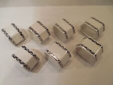 Set of 7 ARABIA Napkin Rings Finland Signed HEIKKI ORVOLA Porcelain Geometric