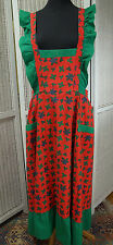 Handmade Vintage Christmas Full Apron Retro Ruffle Holiday Hostess Holly XL Tall