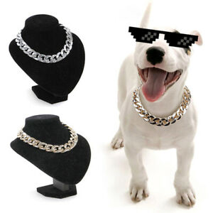 Pets Dog Puppy Cat Collar Chain Adjustable Gold Silver Plastic Punk Necklace