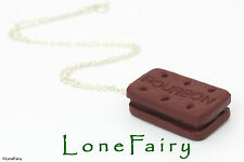 "Polymer Clay Chocolate Brown Bourbon Biscuit Food Necklace 18"" Silver Plated"