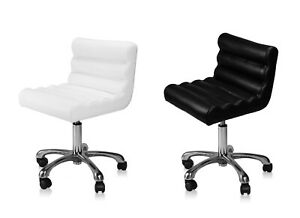 Salon Nail Stool Black and White Color, Pneumatic, Adjustable, Rolling Salon