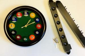 "Black ,round ,Pool ball clock 11"" & Black 2 piece 6 cue wall cue rack gamesroom"