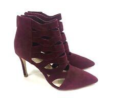 Loeffler Randall $450 Burgundy Suede High Heeled Ankle Boots Size US 7 EUR 37