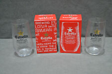 Pair Of (2) Estrella Damm Beer Lager Glasses 330ml 33cl Beer Barcelona Spain Box
