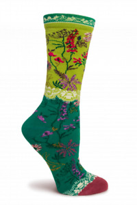 Garden Lace Ozone Women's Crew Socks Green New Novelty Quality Floral Fashion