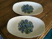 Vintage Retro Oval Blue Pattern Serving Platters Plates x 2