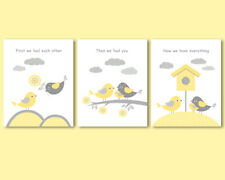 3 prints, art for girl nursery, First we had each other quote, yellow and grey