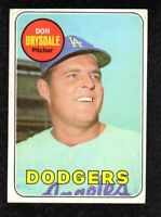 1969 Topps #400 Don Drysdale Los Angeles Dodgers HOF Vintage Baseball Card EX+