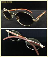 Mens Classy Sophisticated Elegant Retro Style SUN GLASSES Oval Gold & Wood Frame
