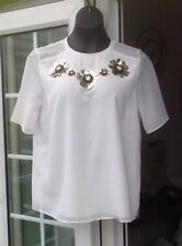 M&S LIMITED EDITION IVORY CHIFFON OUTER SHORT SLEEVE TOP - SIZE 12