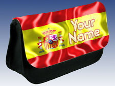 SPAIN / SPANISH FLAG PERSONALISED PENCIL CASE / MAKE UP BAG - GREAT NAMED GIFT
