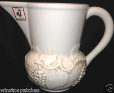 BORDALLO PINHEIRO EMBOSSED GRAPES VINES LEAVES WHITE PITCHER FROG LABEL ON BACK