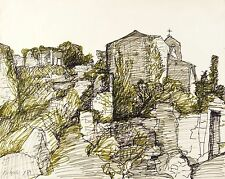 Peter sylvester-montagne provence-fibre stylo dessin 1981