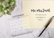 Calligraphy Stencil and Ruler Template- 2 Piece Address and Envelope Guide | for