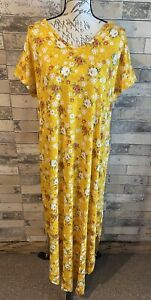 Lularoe Macy V Neck Maxi Dress Nwt Large L Beautiful Yellow Flower Print Nwt