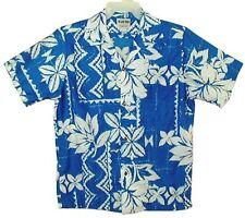 Sz M Vin 60's-70's ISLAND TOGS Maui Hawaiian Aloha Shirt TROPICAL TRIBAL Blue