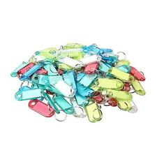 100pcs Colorful Clear Plastic Keychain Key Split Ring ID Tags Name Card Label