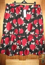 Ladies Black/Red Floral Design Lined Skirt from Per Una at M&S Size 22