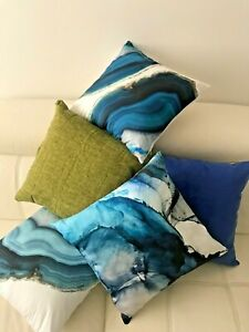 Art Abstract Watercolour Teal Navy Blue Green Marble Ocean Soft Cushion Cover 18
