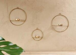Small Derwala Wall Hung T-Light Brass Circular Design Nkuku