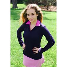 NWT Smashing Golf & Tennis Lucy Long Sleeve Ruched Pull Over Navy XS 0 2