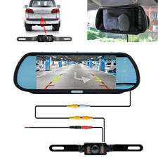 "7"" LCD Rear View Monitor Mirror Night Vision Car Backup Licence Plate Camera Set"