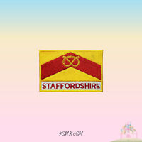 STAFFORDSHIRE UK County Flag With Name Embroidered Iron On Patch Sew On Badge