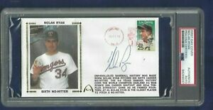 Nolan Ryan Texas Rangers Baseball HOFer Autographed First Day Cover PSA SLABBED