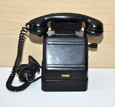 Telefono militare da tavolo scrivania  bakelite nero a manovella anni 40