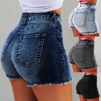 Mode Femme Short Taille Haute en Denim Décontracté Tassel Denim Shorts Déchiré