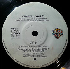 CRYSTAL GAYLE 45RPM CRY/CRAZY IN THE HEART FREE POSTAGE IN AUSTRALIA