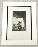 1920 Antico Stampa Goya Vecchio Master Disegno Anglers Sotto Un Rock
