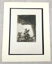 1920 Antique Print Goya Old Master Drawing Anglers Under a Rock