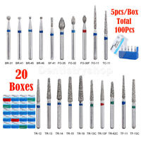 100pcs Dental Diamond Burs for High Speed Handpiece Medium Friction Grip