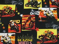 Need for Speed Fabric Piece Robert Kaufman Motorcycles Blazing Wheels Flames