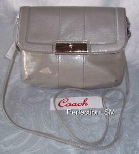 NWT COACH Kristin Patent Leather Crossbody/Clutch  45369 Grey-HOT Color Trend !